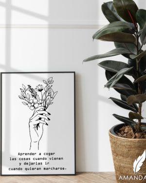 lamina de decoración con ramo de flores y frase